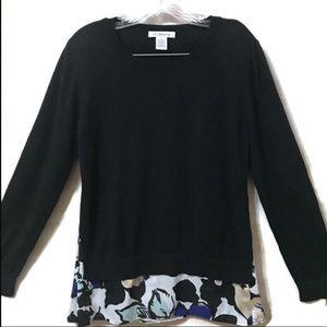 LIZ CLAIBORNE Long Sleeve Woven Sweater SIZE LARGE
